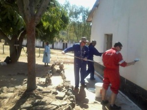 Some of the Brighter Horizons Team painting the school